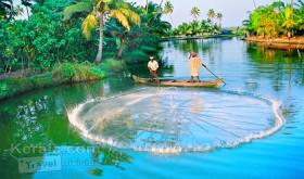 Fishing in kumarakom backwaters